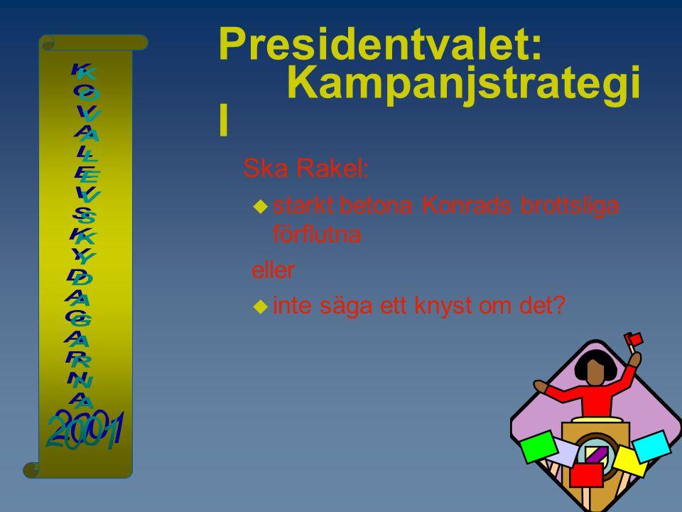 Presidentvalet: Kampanjstrategi I Ska Rakel:  starkt betona Konrads brottsliga förflutna eller  inte säga ett knyst om det?