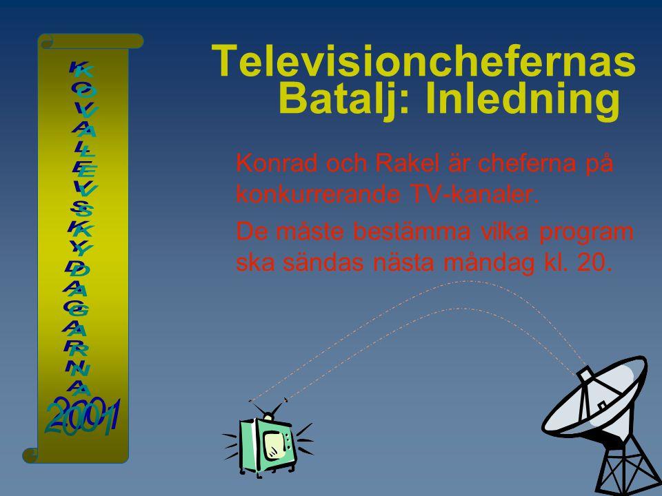 Televisionchefernas Batalj: Inledning Konrad och Rakel är cheferna på konkurrerande TV-kanaler. De måste bestämma vilka program ska sändas nästa månda