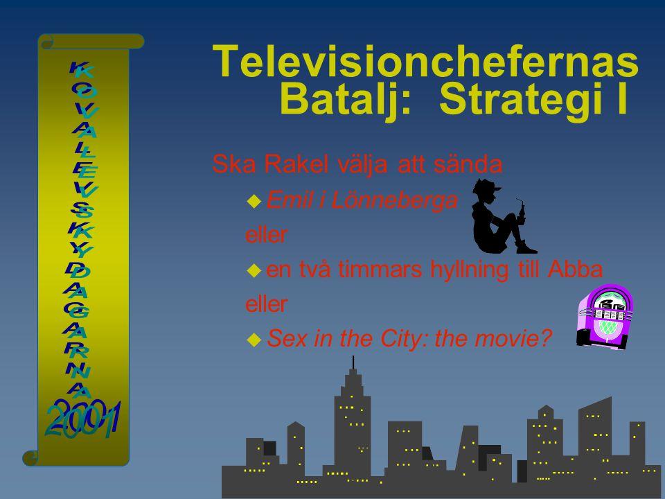 Televisionchefernas Batalj: Strategi I Ska Rakel välja att sända  Emil i Lönneberga eller  en två timmars hyllning till Abba eller  Sex in the City