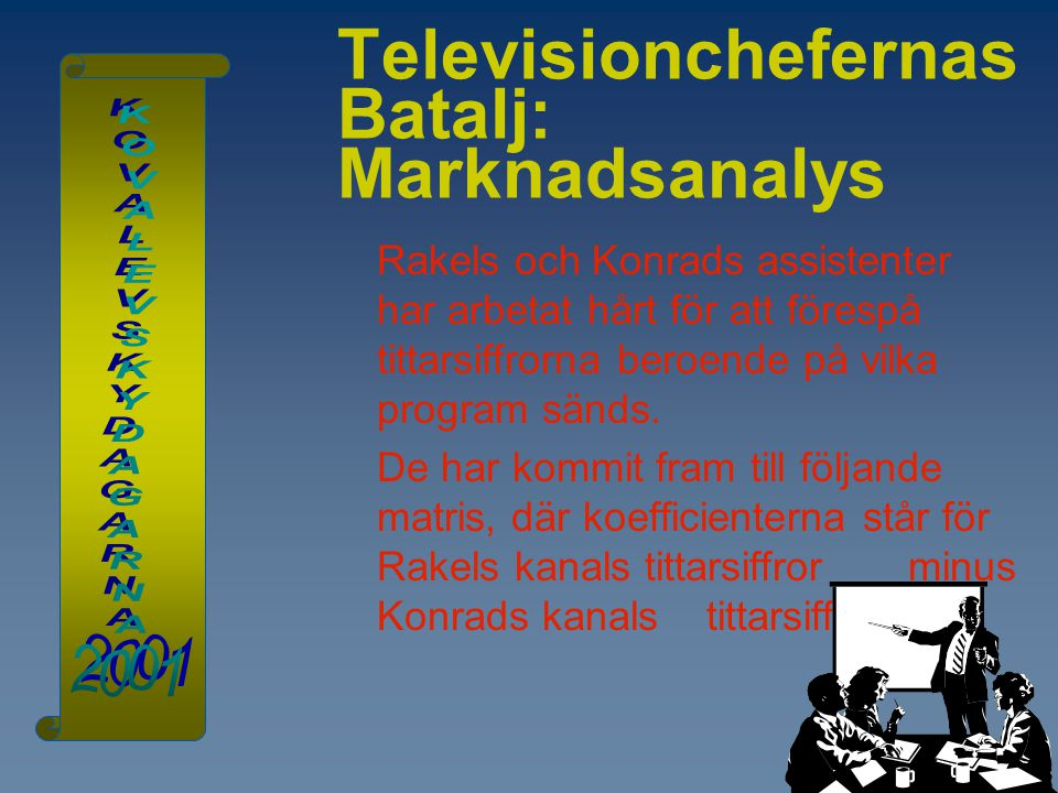 Televisionchefernas Batalj: Marknadsanalys Rakels och Konrads assistenter har arbetat hårt för att förespå tittarsiffrorna beroende på vilka program s