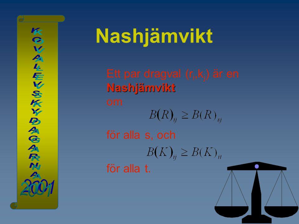Nashjämvikt Nashjämvikt Ett par dragval (r i,k j ) är en Nashjämvikt om för alla s, och för alla t.
