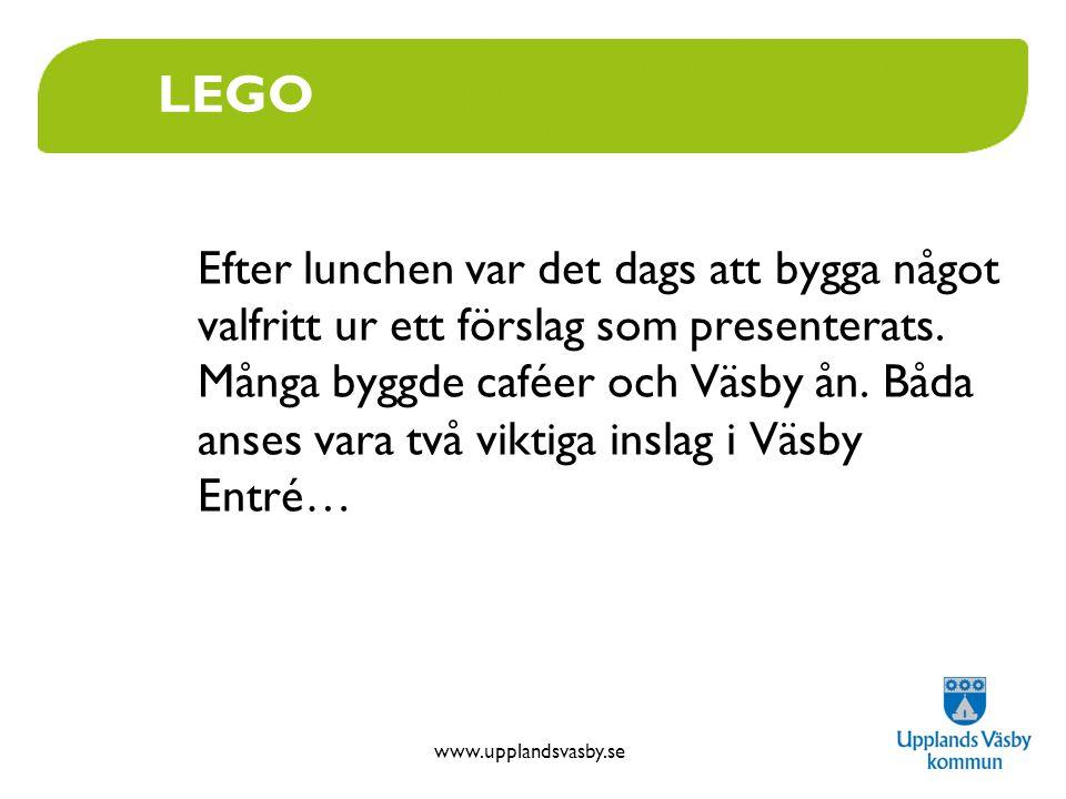 www.upplandsvasby.se LEGO Efter lunchen var det dags att bygga något valfritt ur ett förslag som presenterats. Många byggde caféer och Väsby ån. Båda
