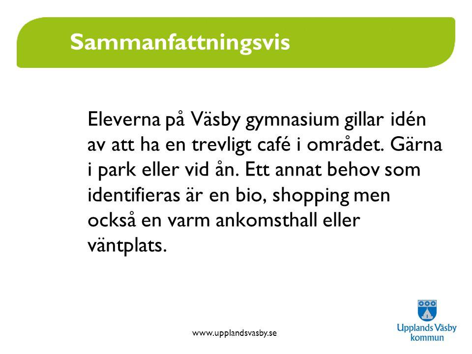 www.upplandsvasby.se Sammanfattningsvis Eleverna på Väsby gymnasium gillar idén av att ha en trevligt café i området. Gärna i park eller vid ån. Ett a