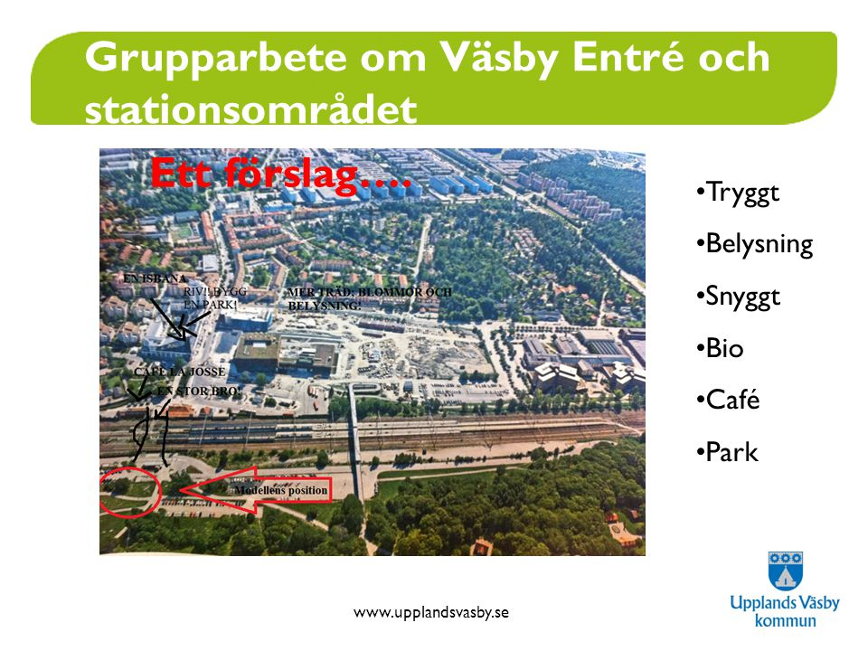 www.upplandsvasby.se Grupparbete om Väsby Entré och stationsområdet Ett förslag…. •Tryggt •Belysning •Snyggt •Bio •Café •Park