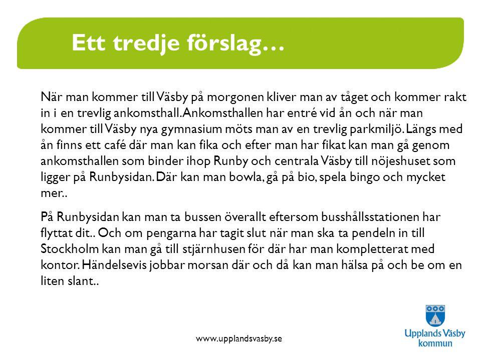 www.upplandsvasby.se Ett fjärde och femte förslag… Väsby- det nya stället för ungdomar Väsby Entré ska vara en stor mötesplats för ungdomar i norrort.