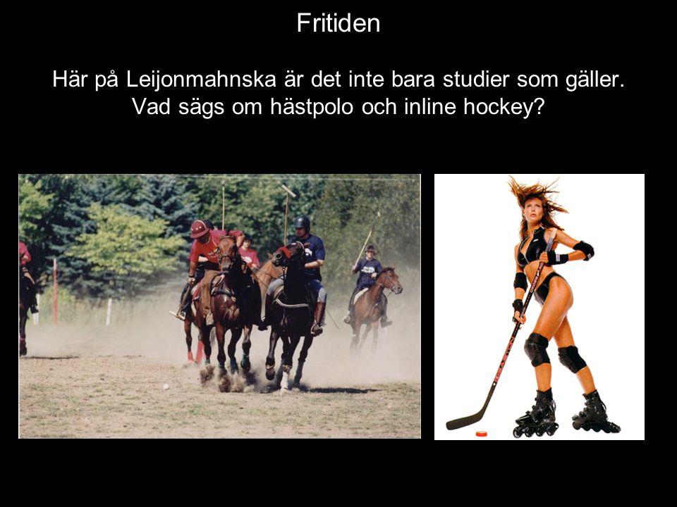 Fritiden Här på Leijonmahnska är det inte bara studier som gäller. Vad sägs om hästpolo och inline hockey?