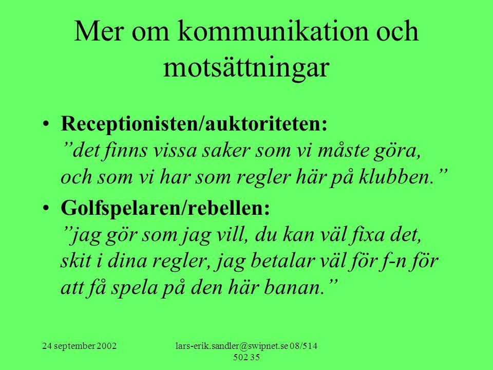 """24 september 2002lars-erik.sandler@swipnet.se 08/514 502 35 Mer om kommunikation och motsättningar •Receptionisten/auktoriteten: """"det finns vissa sake"""