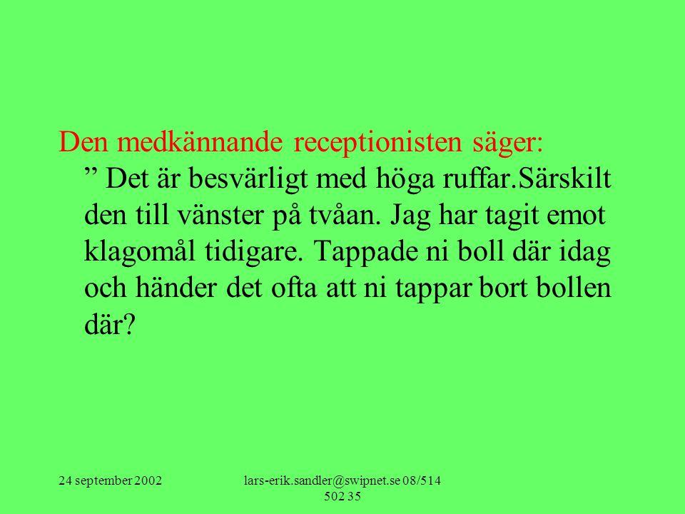24 september 2002lars-erik.sandler@swipnet.se 08/514 502 35 Den medkännande receptionisten säger: Det är besvärligt med höga ruffar.Särskilt den till vänster på tvåan.