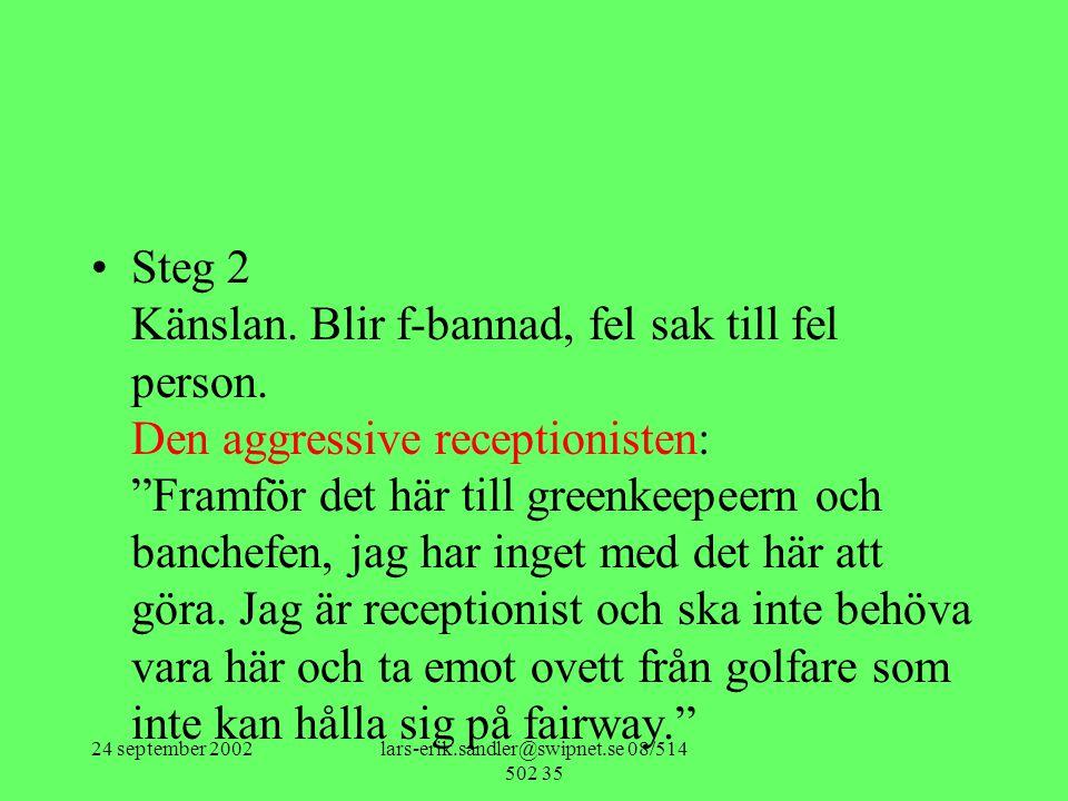 "24 september 2002lars-erik.sandler@swipnet.se 08/514 502 35 •Steg 2 Känslan. Blir f-bannad, fel sak till fel person. Den aggressive receptionisten: ""F"