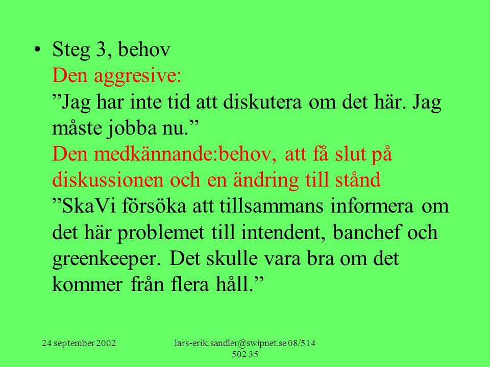 """24 september 2002lars-erik.sandler@swipnet.se 08/514 502 35 •Steg 3, behov Den aggresive: """"Jag har inte tid att diskutera om det här. Jag måste jobba"""