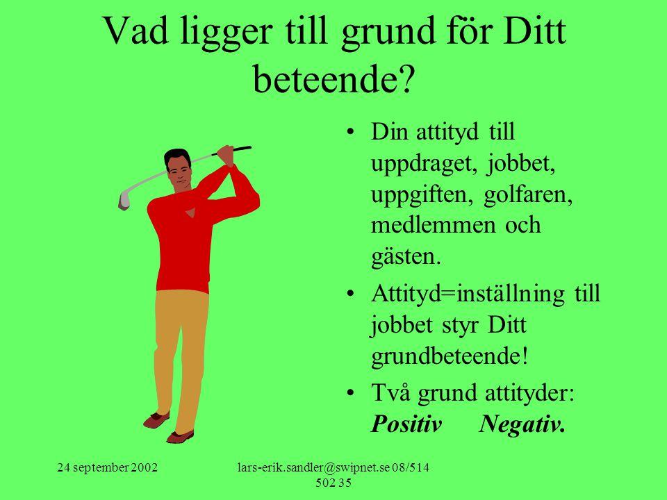 24 september 2002lars-erik.sandler@swipnet.se 08/514 502 35 Vad ligger till grund för Ditt beteende.