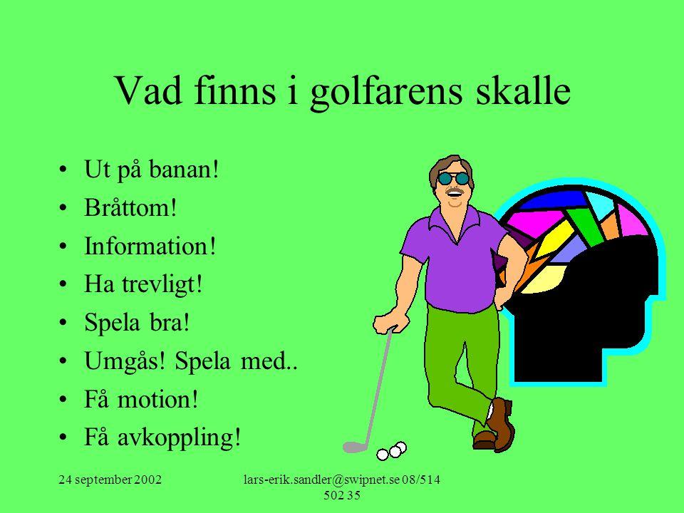 24 september 2002lars-erik.sandler@swipnet.se 08/514 502 35 Vad finns i golfarens skalle •Ut på banan! •Bråttom! •Information! •Ha trevligt! •Spela br