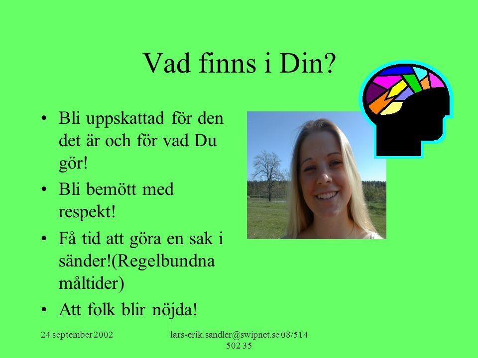 24 september 2002lars-erik.sandler@swipnet.se 08/514 502 35 •Steg 2 Känslan.