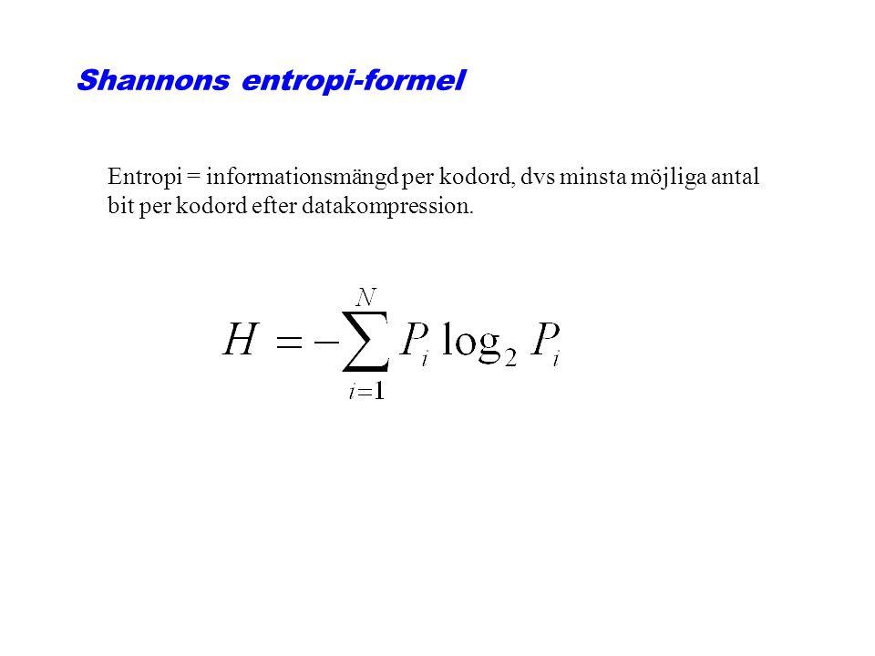 Shannons entropi-formel Entropi = informationsmängd per kodord, dvs minsta möjliga antal bit per kodord efter datakompression.