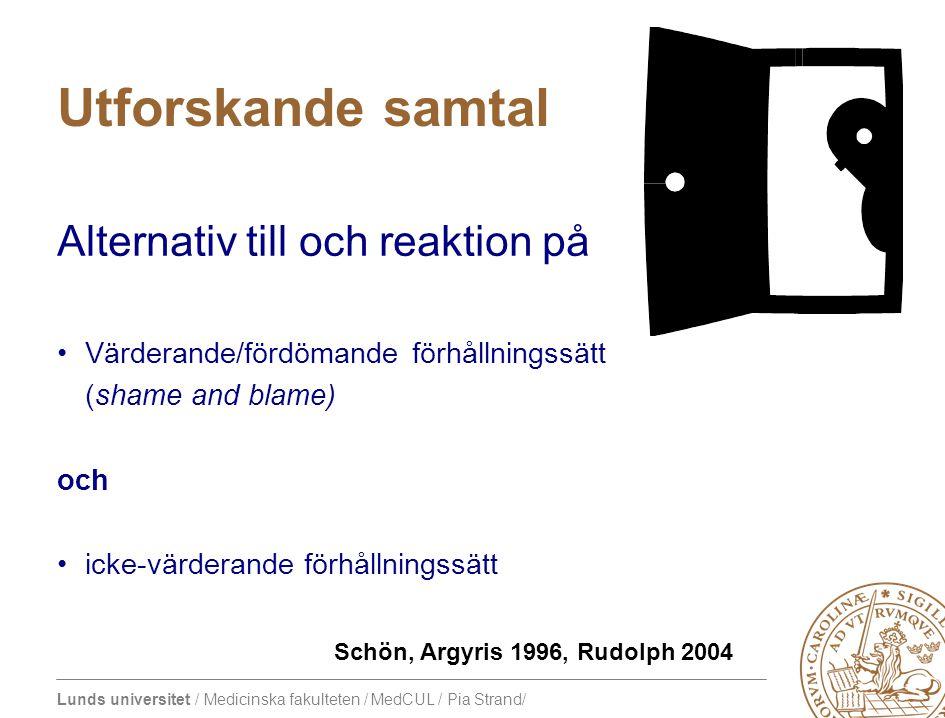 Lunds universitet / Medicinska fakulteten / MedCUL / Pia Strand/ Utforskande samtal Alternativ till och reaktion på •Värderande/fördömande förhållningssätt (shame and blame) och •icke-värderande förhållningssätt Schön, Argyris 1996, Rudolph 2004