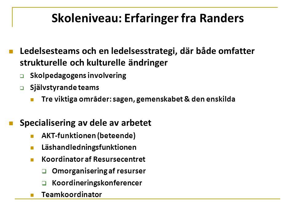 Skoleniveau: Erfaringer fra Randers  Ledelsesteams och en ledelsesstrategi, där både omfatter strukturelle och kulturelle ändringer  Skolpedagogens