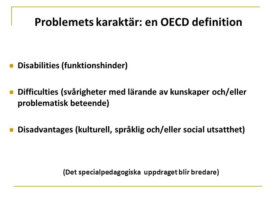 Problemets karaktär: en OECD definition  Disabilities (funktionshinder)  Difficulties (svårigheter med lärande av kunskaper och/eller problematisk b