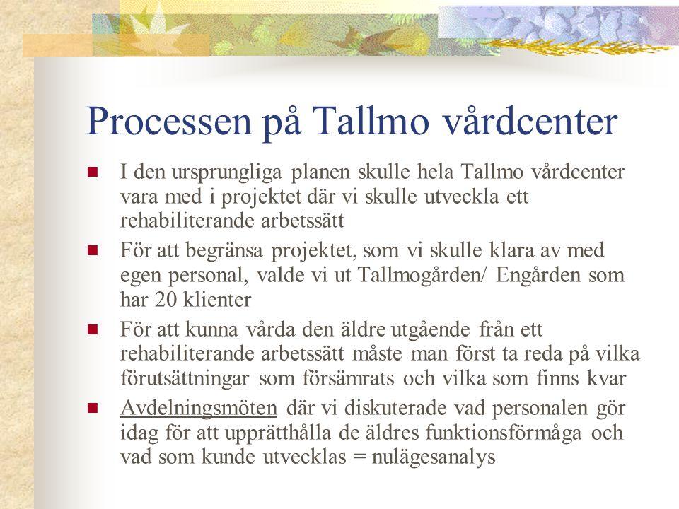 Processen på Tallmo vårdcenter  I den ursprungliga planen skulle hela Tallmo vårdcenter vara med i projektet där vi skulle utveckla ett rehabiliteran