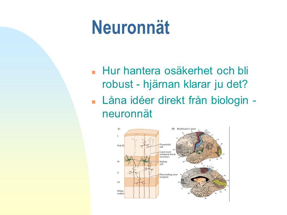 Neuronnät n Hur hantera osäkerhet och bli robust - hjärnan klarar ju det? n Låna idéer direkt från biologin - neuronnät
