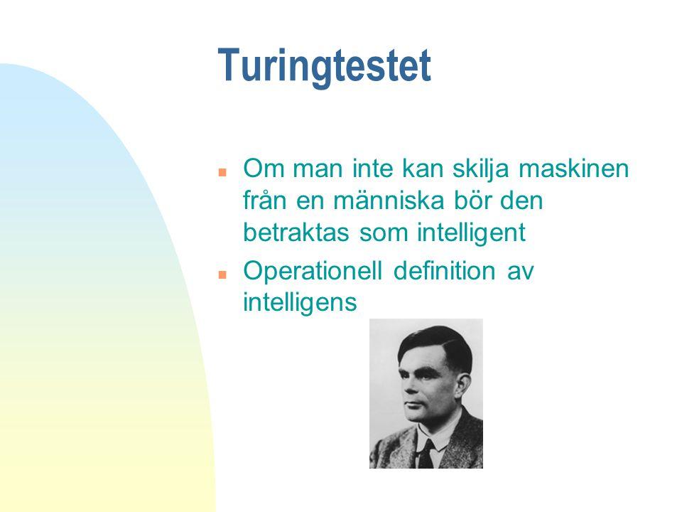Turingtestet n Om man inte kan skilja maskinen från en människa bör den betraktas som intelligent n Operationell definition av intelligens