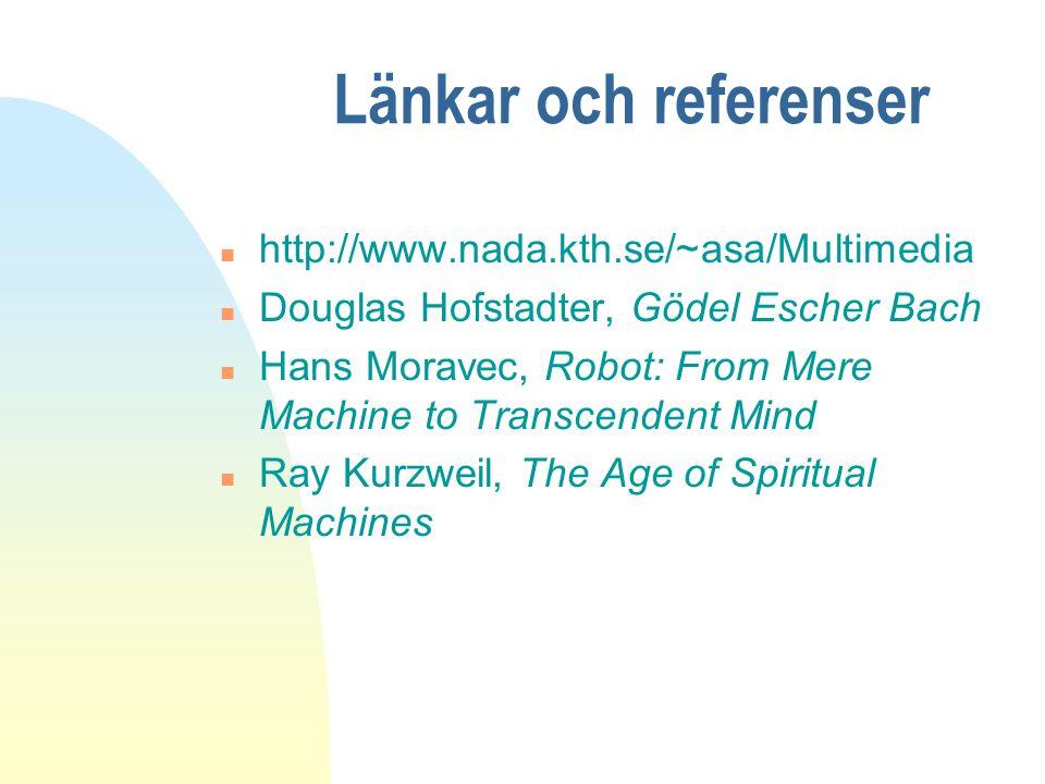 Länkar och referenser n http://www.nada.kth.se/~asa/Multimedia n Douglas Hofstadter, Gödel Escher Bach n Hans Moravec, Robot: From Mere Machine to Tra