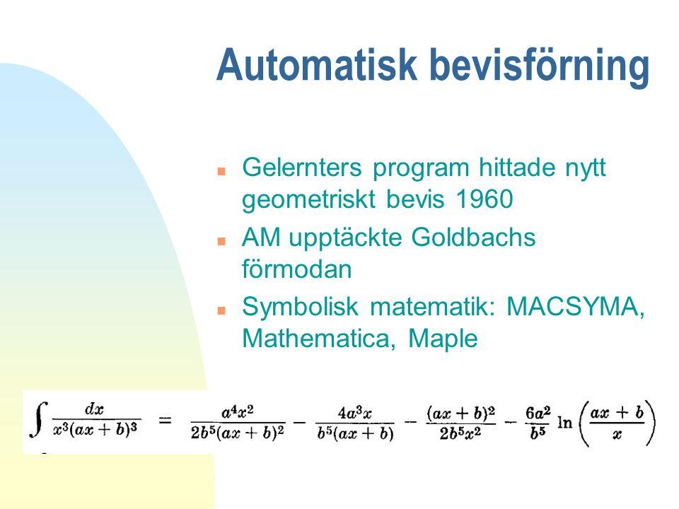 Automatisk bevisförning n Gelernters program hittade nytt geometriskt bevis 1960 n AM upptäckte Goldbachs förmodan n Symbolisk matematik: MACSYMA, Mathematica, Maple
