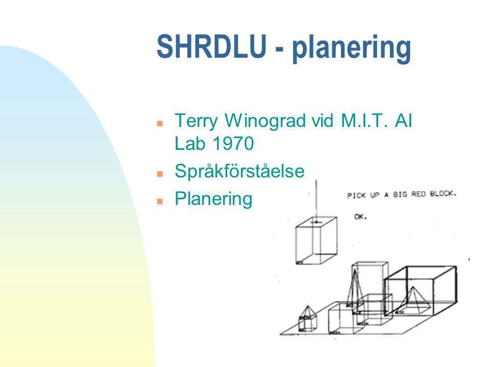 SHRDLU - planering n Terry Winograd vid M.I.T. AI Lab 1970 n Språkförståelse n Planering