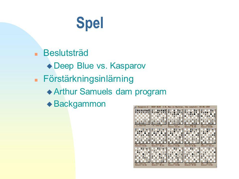Spel n Beslutsträd u Deep Blue vs.