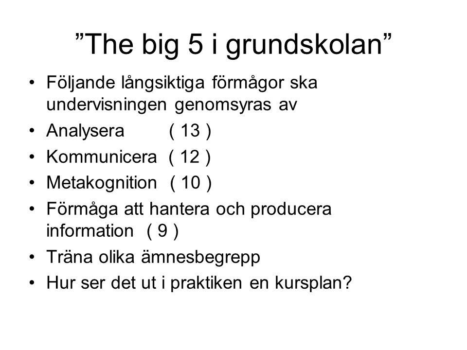 """""""The big 5 i grundskolan"""" •Följande långsiktiga förmågor ska undervisningen genomsyras av •Analysera( 13 ) •Kommunicera ( 12 ) •Metakognition ( 10 ) •"""