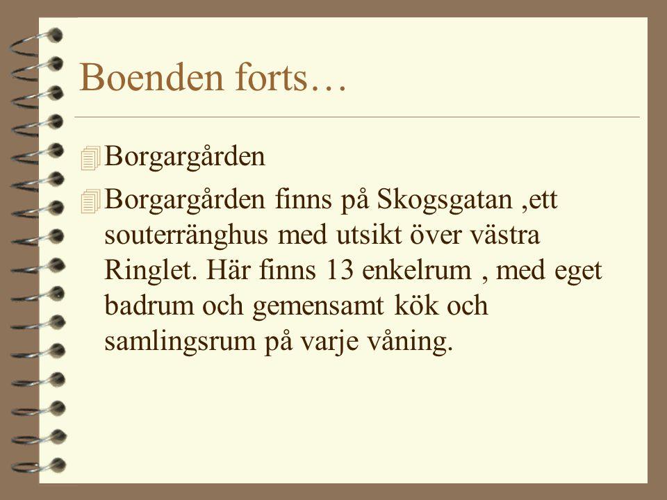 Boenden forts… 4 Borgargården 4 Borgargården finns på Skogsgatan,ett souterränghus med utsikt över västra Ringlet. Här finns 13 enkelrum, med eget bad