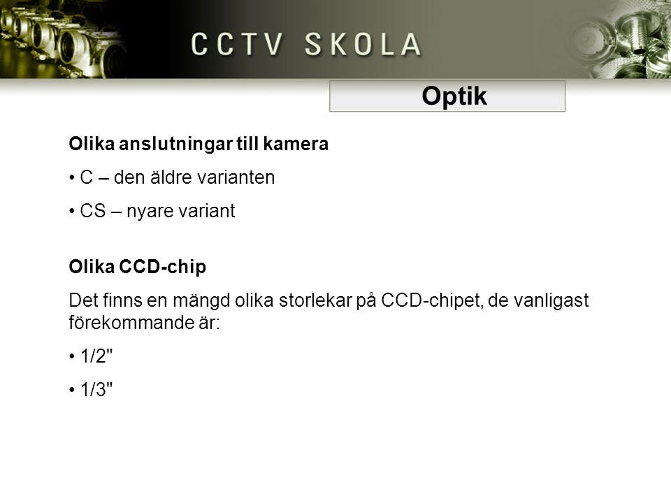 Olika anslutningar till kamera • C – den äldre varianten C – den äldre varianten • CS – nyare variant CS – nyare variant Olika CCD-chip Det finns en m