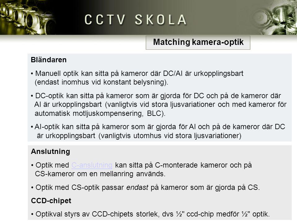 Anslutning • Optik med C-anslutning kan sitta på C-monterade kameror och på CS-kameror om en mellanring används. Optik med C-anslutning kan sitta på C