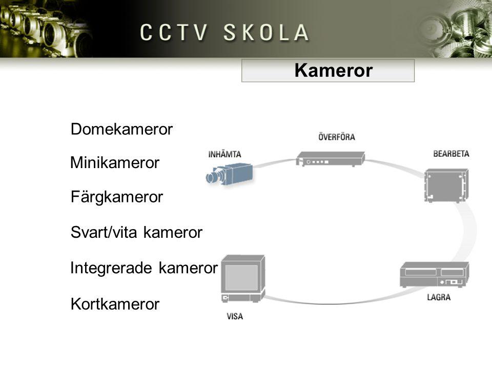 Skillnader på kameror • Svart/vita kameror har starkare ljuskänslighet än färgkamera i och med att färgfiltret stjäl ljus Svart/vita kameror har starkare ljuskänslighet än färgkamera i och med att färgfiltret stjäl ljus • Det finns fasta eller rörliga kameror Det finns fasta eller rörliga kameror • Ett CCD-ship ger olika bildresultat, fler bildpunkter på shipet ger högre upplösning Ett CCD-ship ger olika bildresultat, fler bildpunkter på shipet ger högre upplösning • Täcker olika stora områden – beror dock även på tillhörande optik Täcker olika stora områden – beror dock även på tillhörande optik • Inomhus- och utomhuskameror har olika egenskaper för respektive miljö Inomhus- och utomhuskameror har olika egenskaper för respektive miljö Kameror