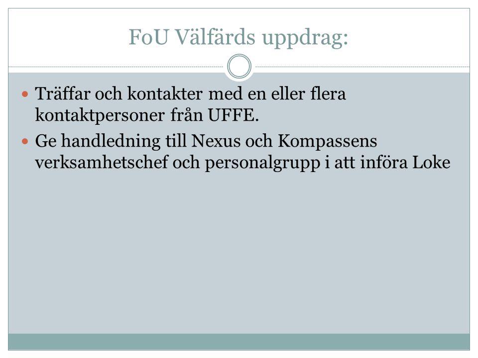 FoU Välfärds uppdrag:  Träffar och kontakter med en eller flera kontaktpersoner från UFFE.  Ge handledning till Nexus och Kompassens verksamhetschef