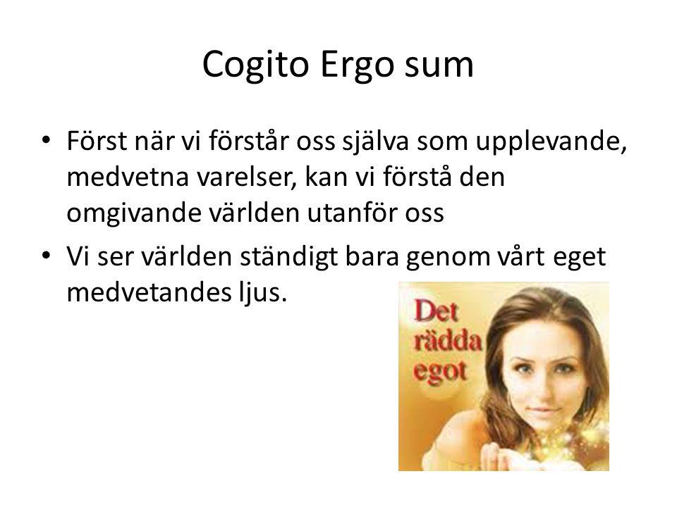 Cogito Ergo sum • Först när vi förstår oss själva som upplevande, medvetna varelser, kan vi förstå den omgivande världen utanför oss • Vi ser världen ständigt bara genom vårt eget medvetandes ljus.