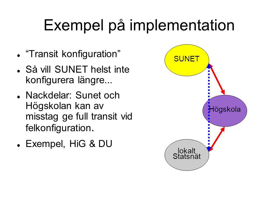 """Exempel på implementation  """"Transit konfiguration""""  Så vill SUNET helst inte konfigurera längre...  Nackdelar: Sunet och Högskolan kan av misstag g"""