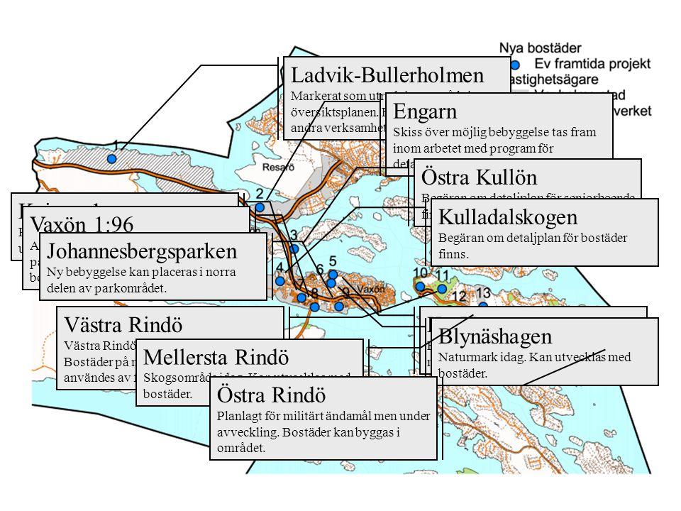 Ladvik-Bullerholmen Markerat som utredningsområde i översiktsplanen. Bostäder, men även andra verksamheter kan bli aktuella. Engarn Skiss över möjlig