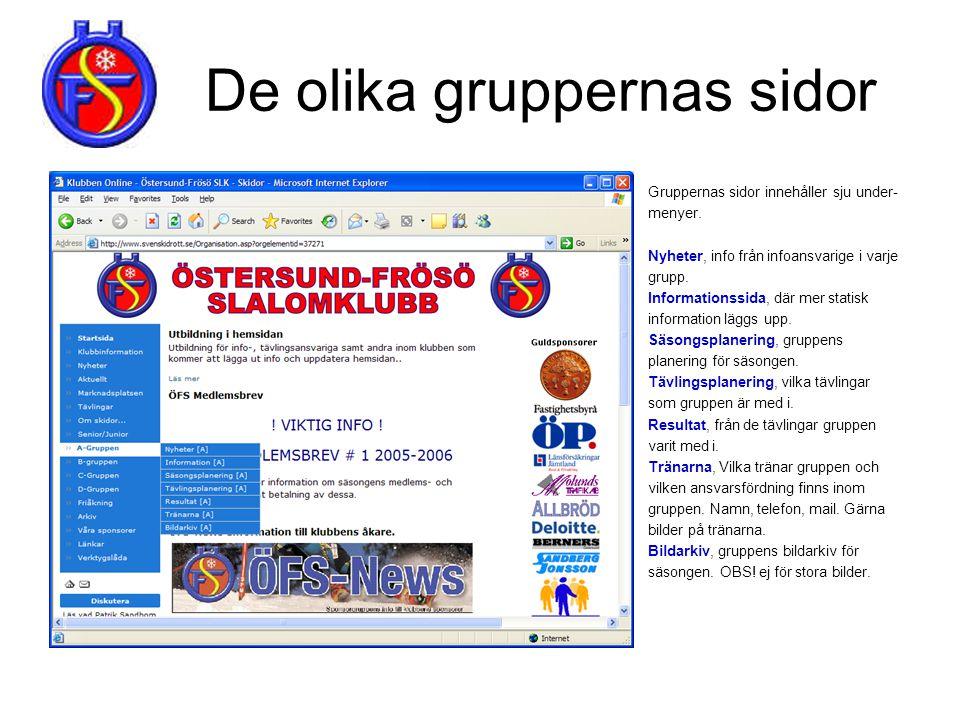 De olika gruppernas sidor Gruppernas sidor innehåller sju under- menyer. Nyheter, info från infoansvarige i varje grupp. Informationssida, där mer sta