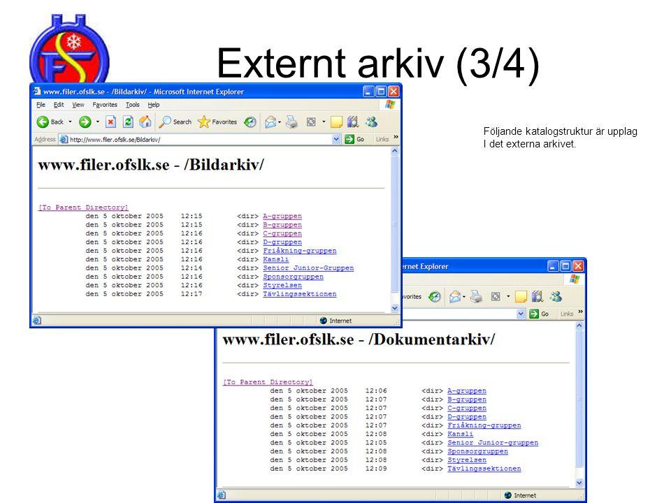 Externt arkiv (3/4) Följande katalogstruktur är upplag I det externa arkivet.