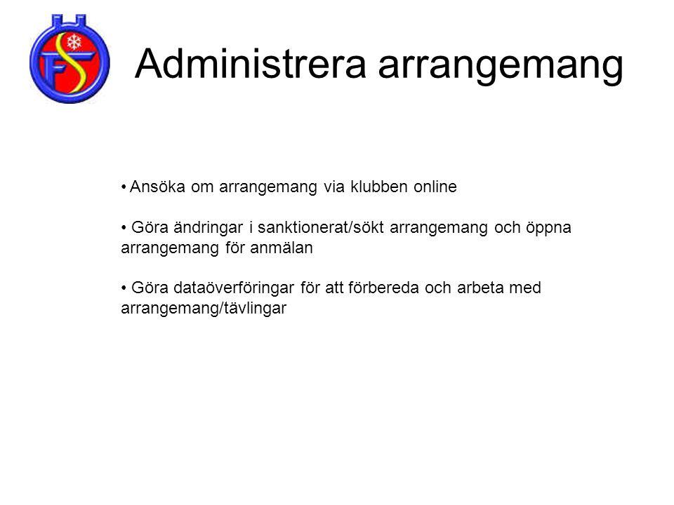 Administrera arrangemang • Ansöka om arrangemang via klubben online • Göra ändringar i sanktionerat/sökt arrangemang och öppna arrangemang för anmälan