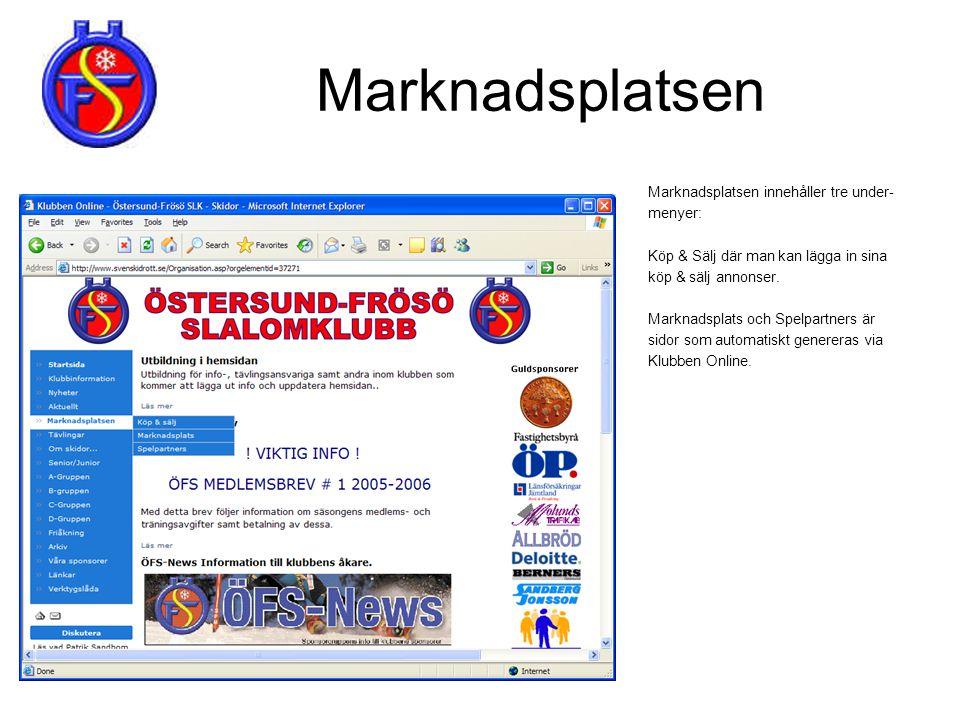 Tävlingar Tävlingar innehåller fyra under- menyer: Klubbtävlingar, vilka tävlingar som anordnas i klubbens regi.