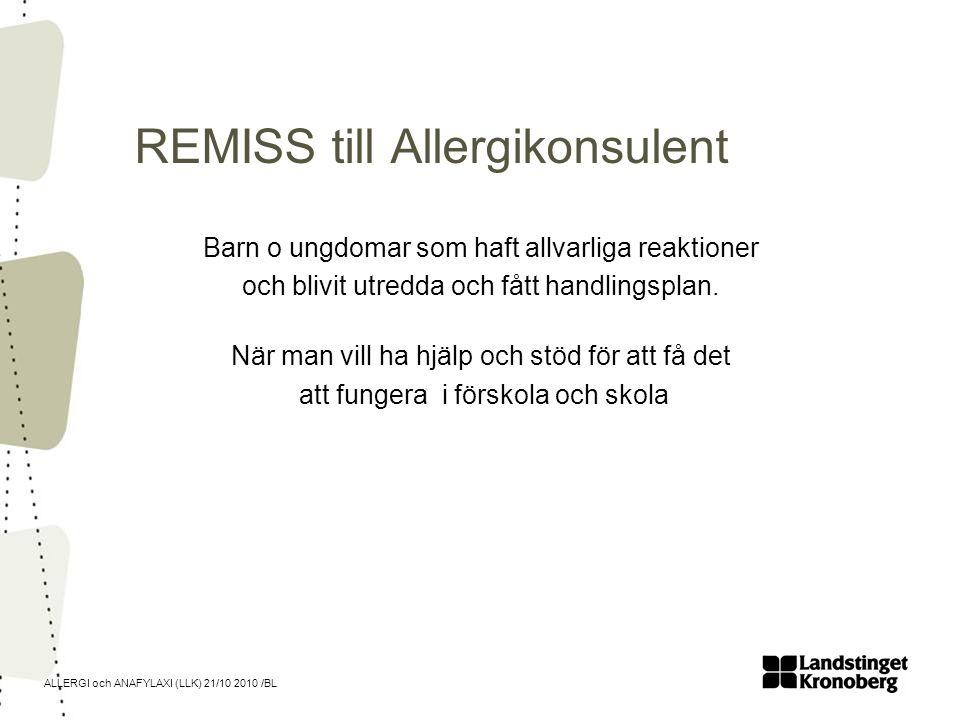 ALLERGI och ANAFYLAXI (LLK) 21/10 2010 /BL REMISS till Allergikonsulent Barn o ungdomar som haft allvarliga reaktioner och blivit utredda och fått han