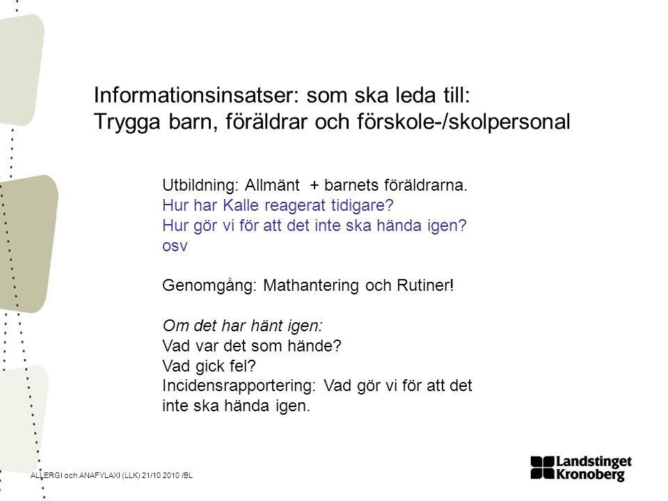 ALLERGI och ANAFYLAXI (LLK) 21/10 2010 /BL Informationsinsatser: som ska leda till: Trygga barn, föräldrar och förskole-/skolpersonal Utbildning: Allm