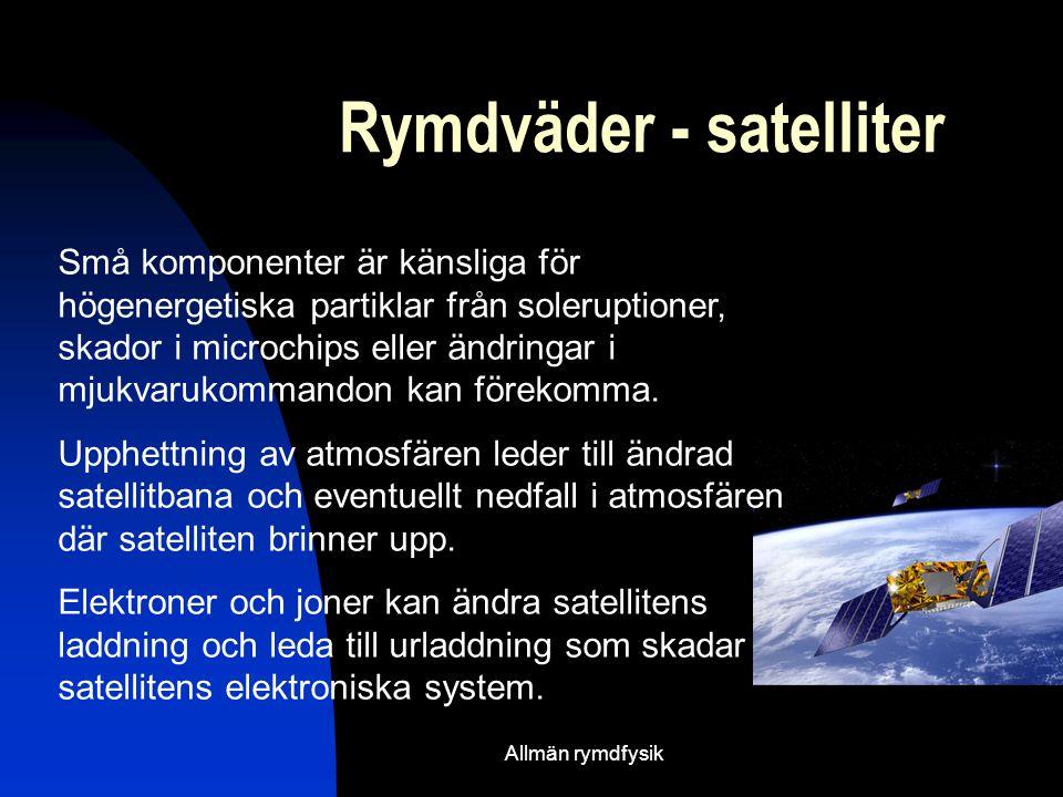Rymdväder - satelliter Små komponenter är känsliga för högenergetiska partiklar från soleruptioner, skador i microchips eller ändringar i mjukvarukommandon kan förekomma.