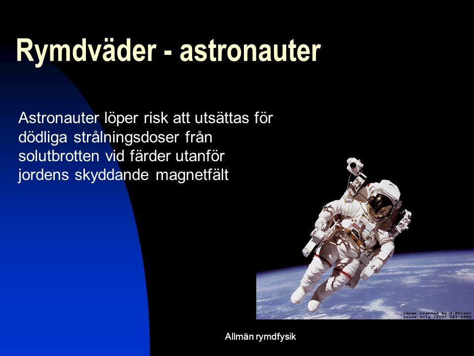 Allmän rymdfysik Rymdväder - astronauter Astronauter löper risk att utsättas för dödliga strålningsdoser från solutbrotten vid färder utanför jordens skyddande magnetfält