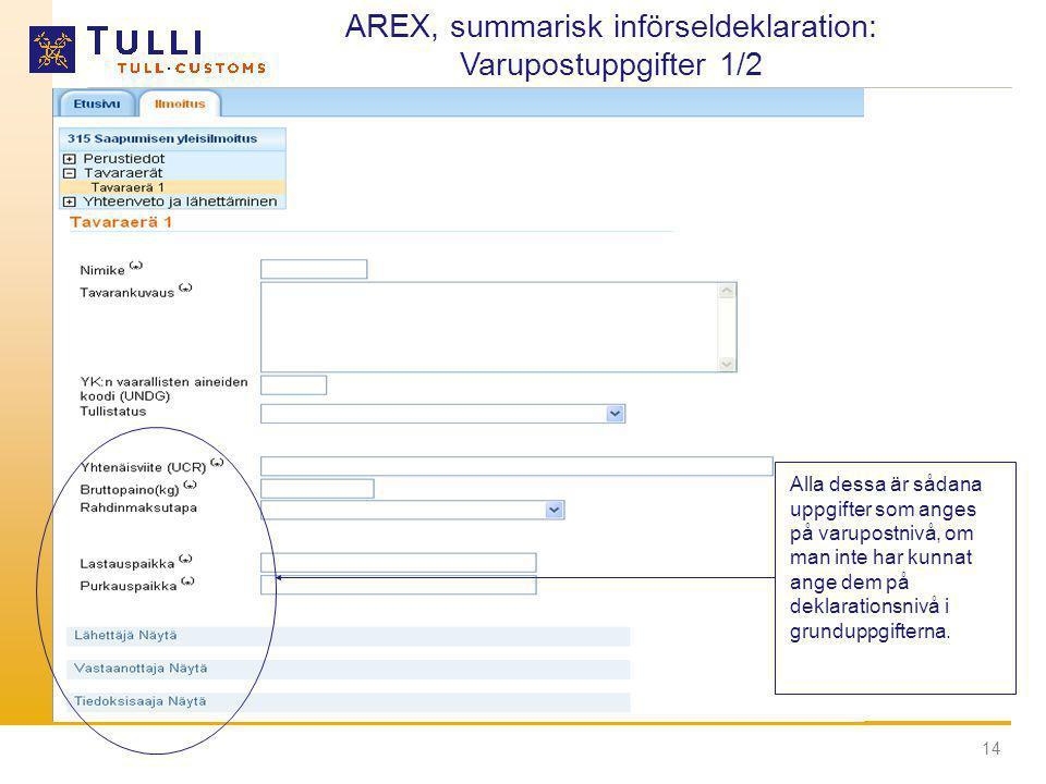 14 AREX, summarisk införseldeklaration: Varupostuppgifter 1/2 Alla dessa är sådana uppgifter som anges på varupostnivå, om man inte har kunnat ange de