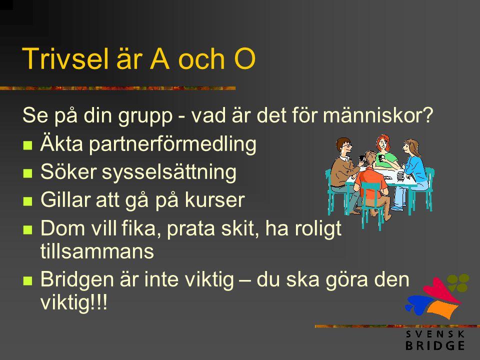 Trivsel är A och O Se på din grupp - vad är det för människor?  Äkta partnerförmedling  Söker sysselsättning  Gillar att gå på kurser  Dom vill fi