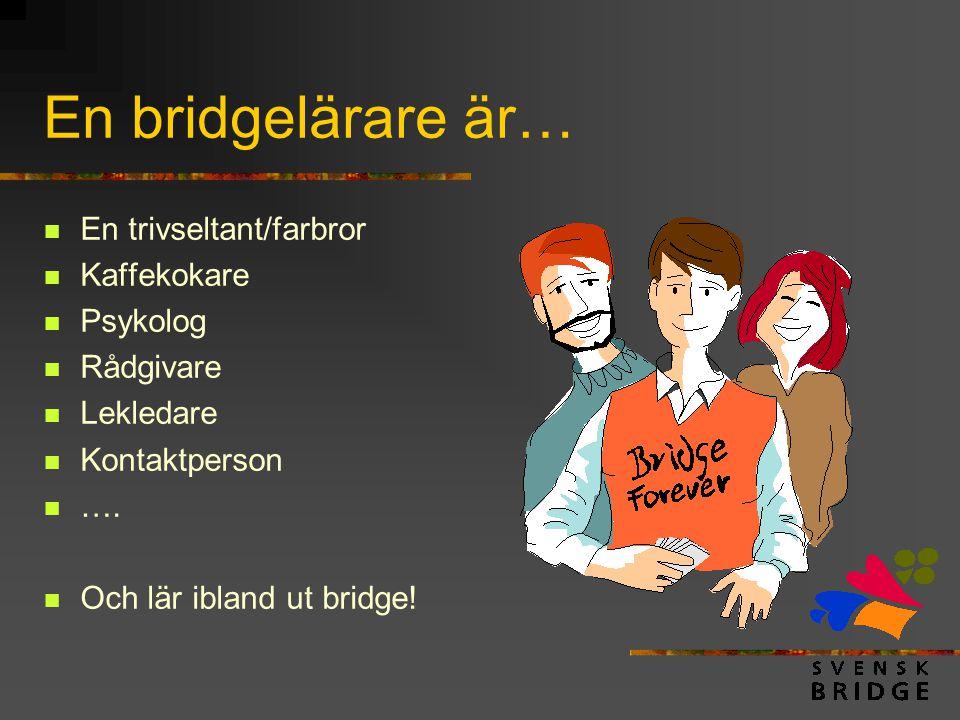 En bridgelärare är…  En trivseltant/farbror  Kaffekokare  Psykolog  Rådgivare  Lekledare  Kontaktperson  ….  Och lär ibland ut bridge!