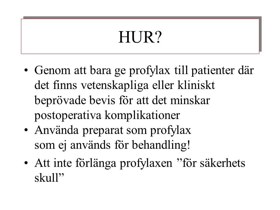 HUR? •Genom att bara ge profylax till patienter där det finns vetenskapliga eller kliniskt beprövade bevis för att det minskar postoperativa komplikat