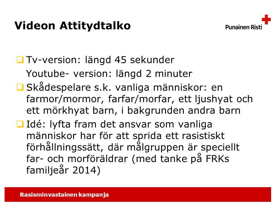 Rasisminvastainen kampanja Videon Attitydtalko  Tv-version: längd 45 sekunder Youtube- version: längd 2 minuter  Skådespelare s.k.